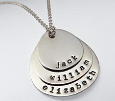 Hand Stamped Mother + Children Necklace