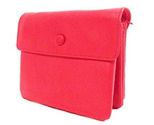Bond Street Leather 3-pouch Red Zippered Jewelry Travel Case