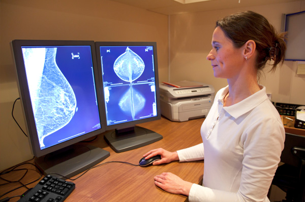 Mammogram being examined by radiologist