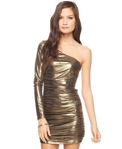 Gold asymmetrical metallic dress from Forever 21