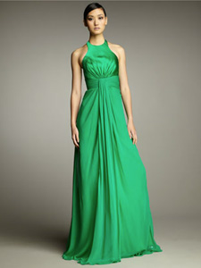 emerald green chiffon gown