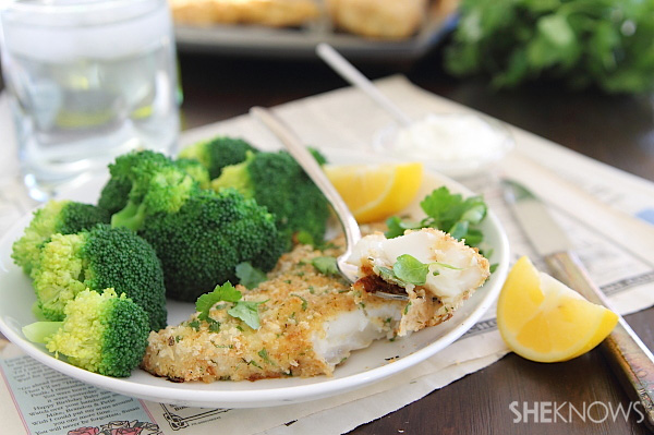 Oven baked breaded fish