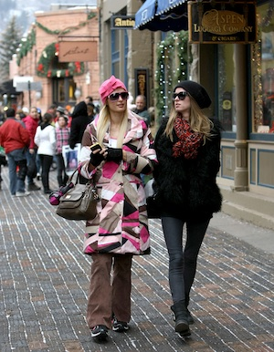 Paris Hilton and Nicky Hilton spend Christmas in Aspen.