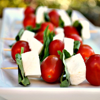 Pepper vodka soaked caprese skewers