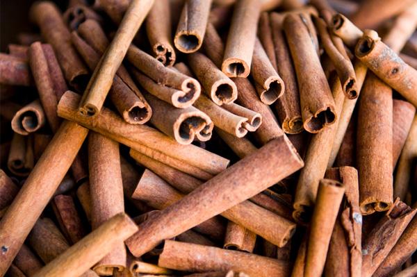 Pile of cinnamon sticks