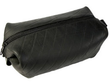 Recycled tire toiletries case