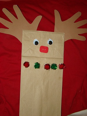 preschool crafts for kids paper bag reindeer puppet