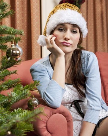 Unhappy woman during Christmas