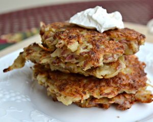 Spicy red potato latkes