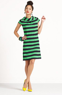 Kate Spade dress with sporty green and blue stripes ($350)