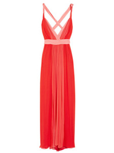 Two-tone silk-chiffon gown