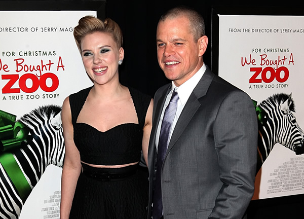 Scarlett Johansson and Matt Damon at the premiere of new zoo movie, We Bought a Zoo