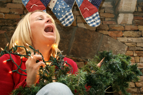 Woman stressed with Christmas