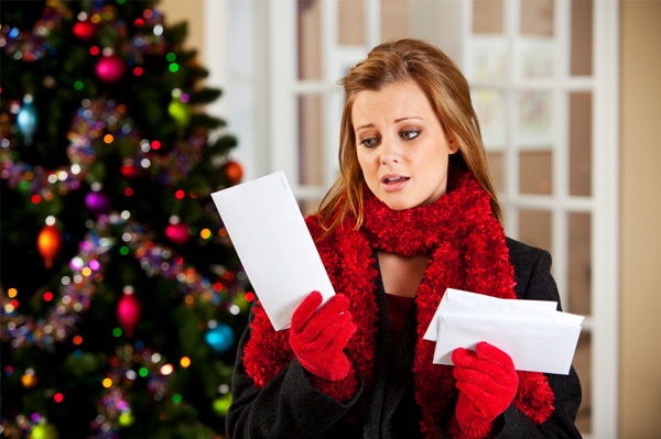 Woman upset with Christmas shopping bills