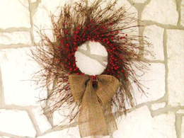 Burlap and berries rustic wreath