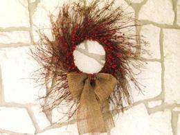 Burlap and berries rustic wreath