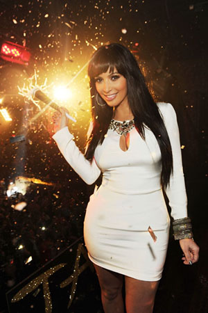 Kim Kardashian New Year's Eve 2011 at Tao