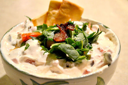 BLT dip with crispy pita chips