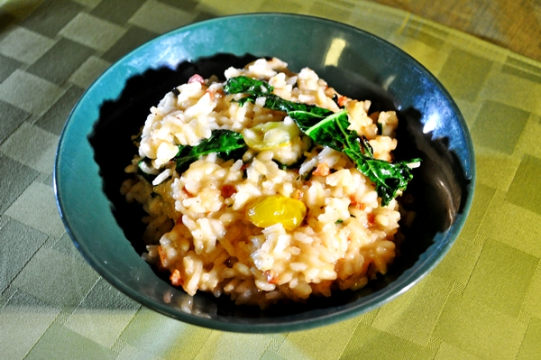 Pancetta gives risotto awesome smoky flavor