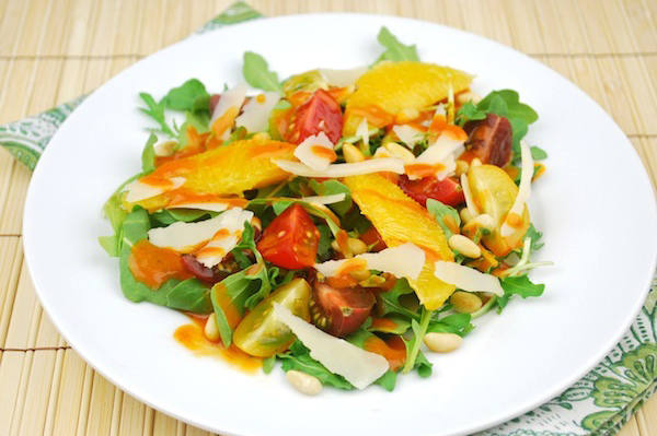 Arugula salad with roasted tomato vinaigrette