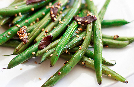 further. These crisp Asian-style green beans are seasoned with garlic ...
