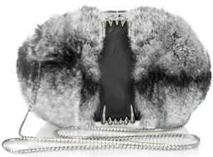 Maison du Posh One Another Black Fur Teeth Clutch