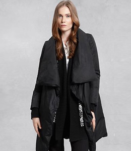 Delicately draped - drape front puffer coat