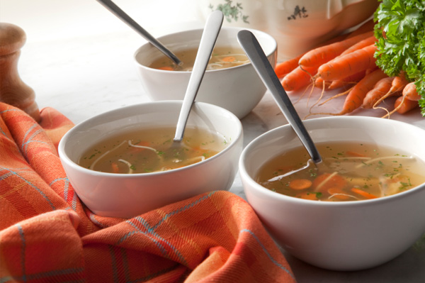 Bowls of homemade chicken soup