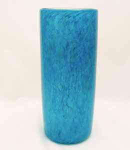 Caribbean blue blown glass flower vase