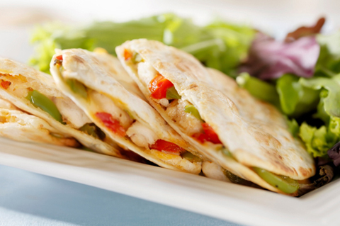 Chicken papaya quesadillas