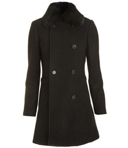 Barneys New York wool blend double breasted coat