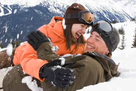 Couple on snowboarding date