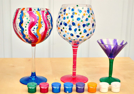 DIY handpainted wine glass
