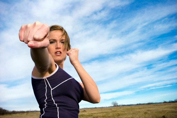 Woman pumped to exercise