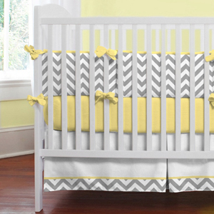 Gray and yellow zigzag bedding