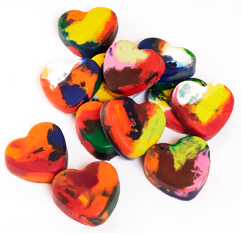 heart crayons