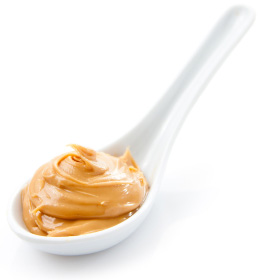 Almond butter on spoon