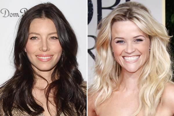 Jessica Biel and Reese Witherspone wearing nude makeup at 69 Annual Golden Globes
