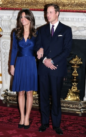 Kate Middleton wows in blue engagement dress.