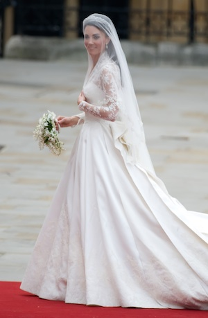 Kate Middleton's iconic Alexander McQueen wedding dress.