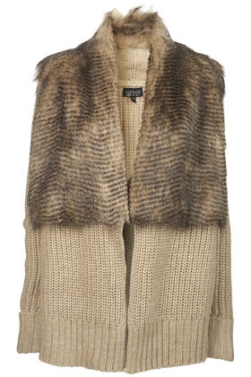 Topshop Knitted Faux Fur Coatigan