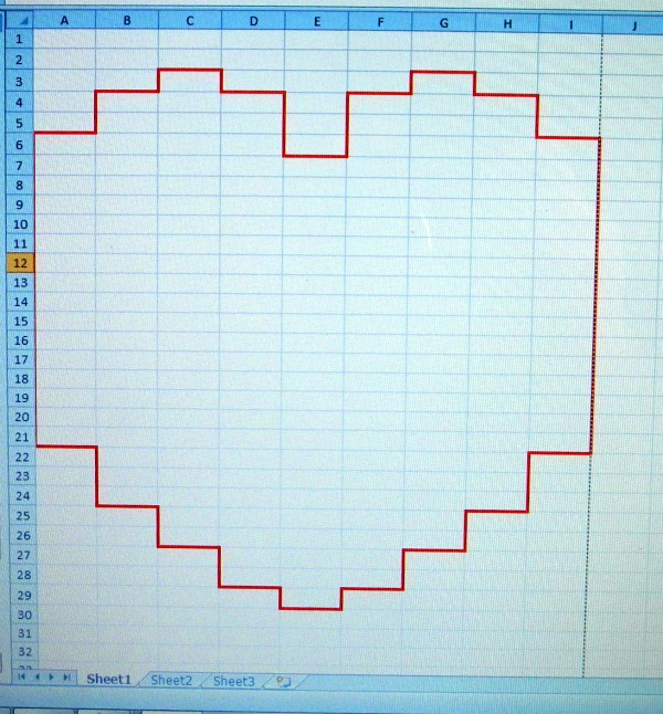 excel heart shape
