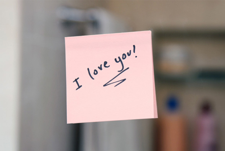 Love note on mirror