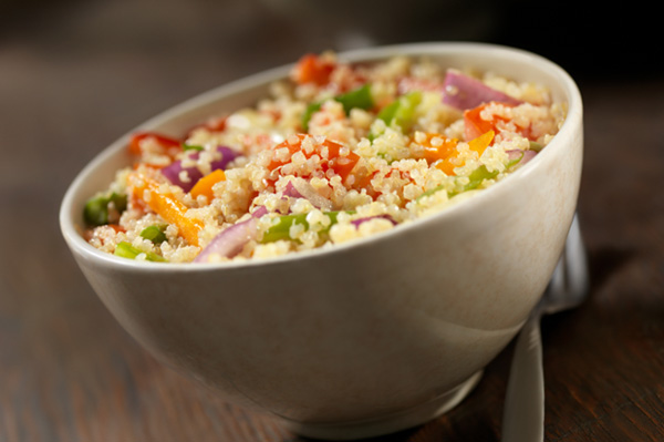 Warm Mediterranean quinoa salad