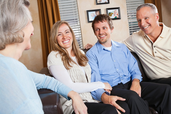 Woman meeting boyfriend's family