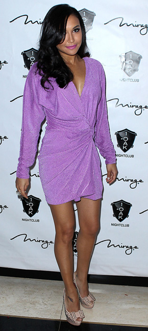 Naya Rivera in purple wrap dress
