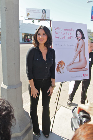 Olivia Munn gets naked for animals