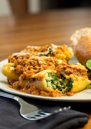 Better-for-you Italian pasta shell stuffing
