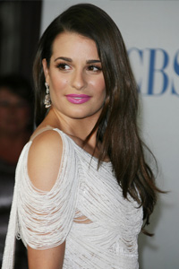 Lea Michele's pink lips