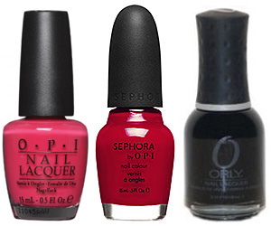 Pink, red, and black nail polish